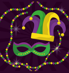 mardi gras mask with feathers and jester hat beads vector image