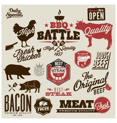 Meat works design elements vector image