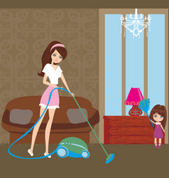 mother and little girl tidying up a room all vector image
