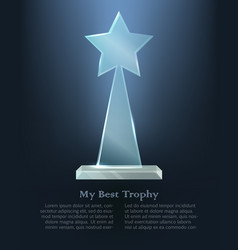 My best trophy glass triangle with star on top vector