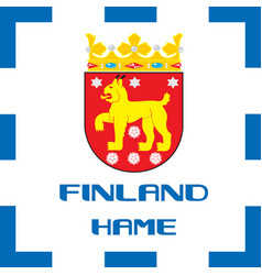 national ensigns flag and emblem of finland - hame vector image