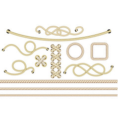 Old nautical ropes set vector