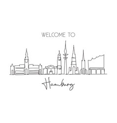 one continuous line drawing hamburg city vector image