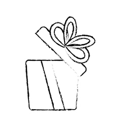 Open gift box ribbon elegant present sketch vector