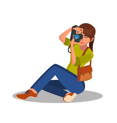 Photographer girl photographic camera vector