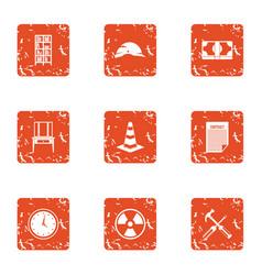 Radiation icons set grunge style vector