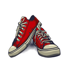 Red color sneakers on isolated white background vector