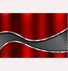 red metal background with perforated element vector image