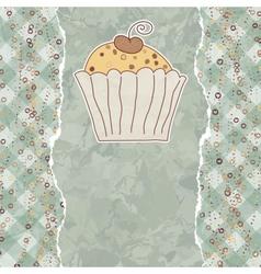 Retro cupcake card vector