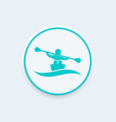 Rowing kayak canoe icon vector