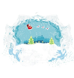 Santa Claus flying over city - Abstract Christmas vector