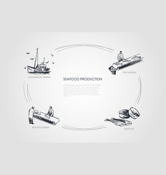 Seafood production - commercial fishing fish vector