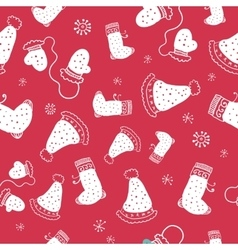 Seamless pattern with christmas socks and hats vector