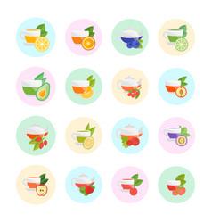 Set flat icons fruit tea vector