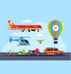 set mode of transport with car balloon vector image