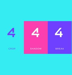 Set number 4 minimal logo icon design template vector