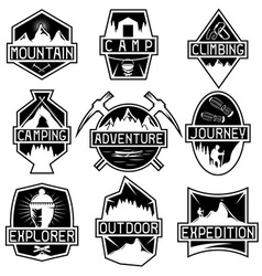 set of vintage labels mountain adventure hiking vector image
