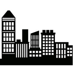 silhouette skyscrapers building city architecture vector image