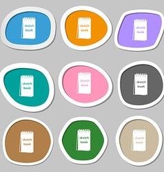 Sketchbook symbols Multicolored paper stickers vector