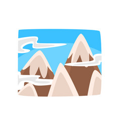 Snowy rocky mountains and blue sky with clouds vector