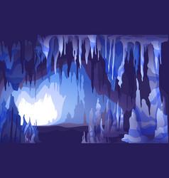 Stalactites stalagmites cave view vector