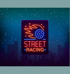 street racing billboard logo emblem template vector image