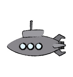 Submarine with periscope bathyscaphe cartoon vector