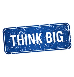 Think big blue square grunge textured isolated vector