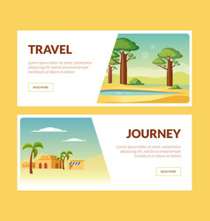 travel journey horizontal banners set summer vector image