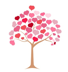 Tree pink heart vector image