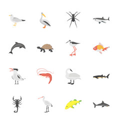 underwater life animals flat icons vector image
