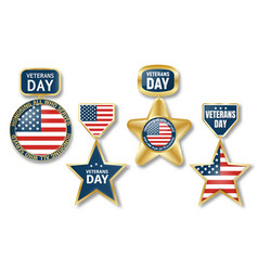 veterans day logo set realistic style vector image