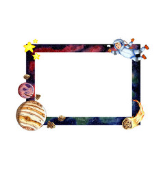 Watercolor of a rectangular frame with space vector
