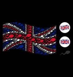 Waving united kingdom flag collage of spermatozoon vector