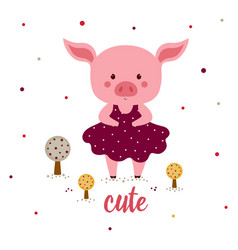 With cartoon pigs vector