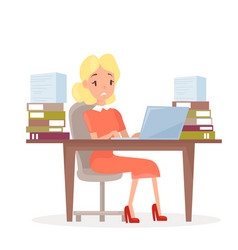 working business woman at vector image