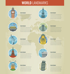 World landmarks infographics set travel and vector