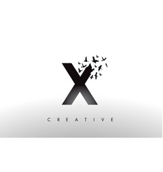 x logo letter with flock of birds flying and vector image