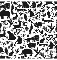 animals silhouettes pattern seamless vector image