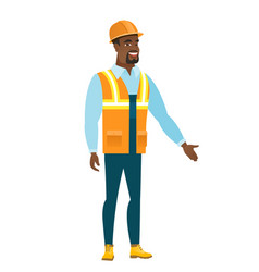 constructor with arm out in a welcoming gesture vector image vector image