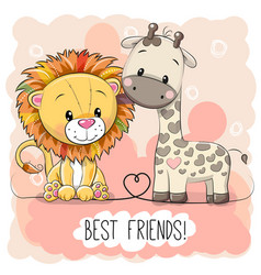 cute lion and giraffel on a pink background vector image