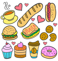 doodle of element food various set vector image vector image