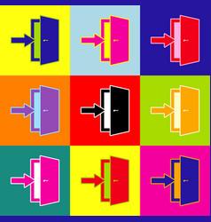 door exit sign pop-art style colorful vector image