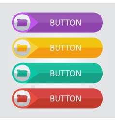 flat buttons with folder icon vector image vector image
