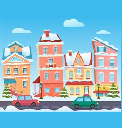 sunny cute cartoon city street at winter vector image
