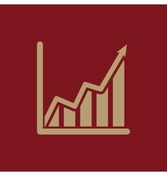 The growing graph icon growth and up symbol flat vector