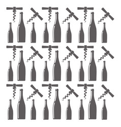 bottle wine and corkscrew seamless pattern design vector image