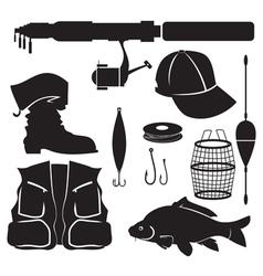 fisher equipment set vector image vector image