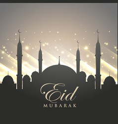 islamic eid festival greeting with mosque vector image