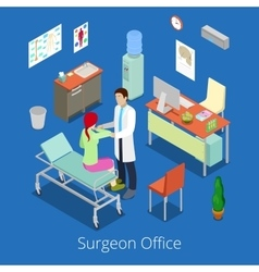 Isometric Surgeon Office with Doctor Patient vector image vector image